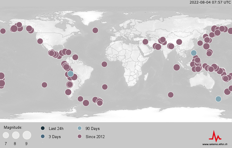 World Map of earthquakes since 2012, magnitude 7 or above