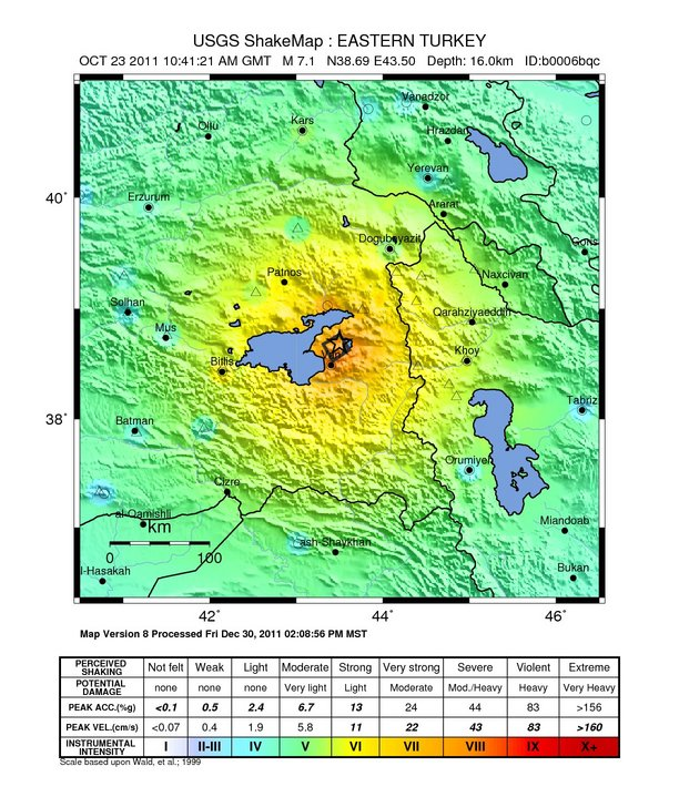 Earthquake in Turkey on 23 October 2011