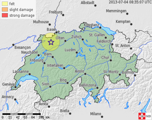 Earthquake between Moutier and Delémont