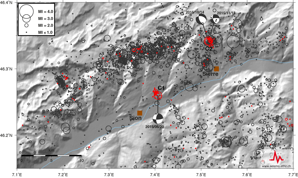Two active earthquake swarms in Valais