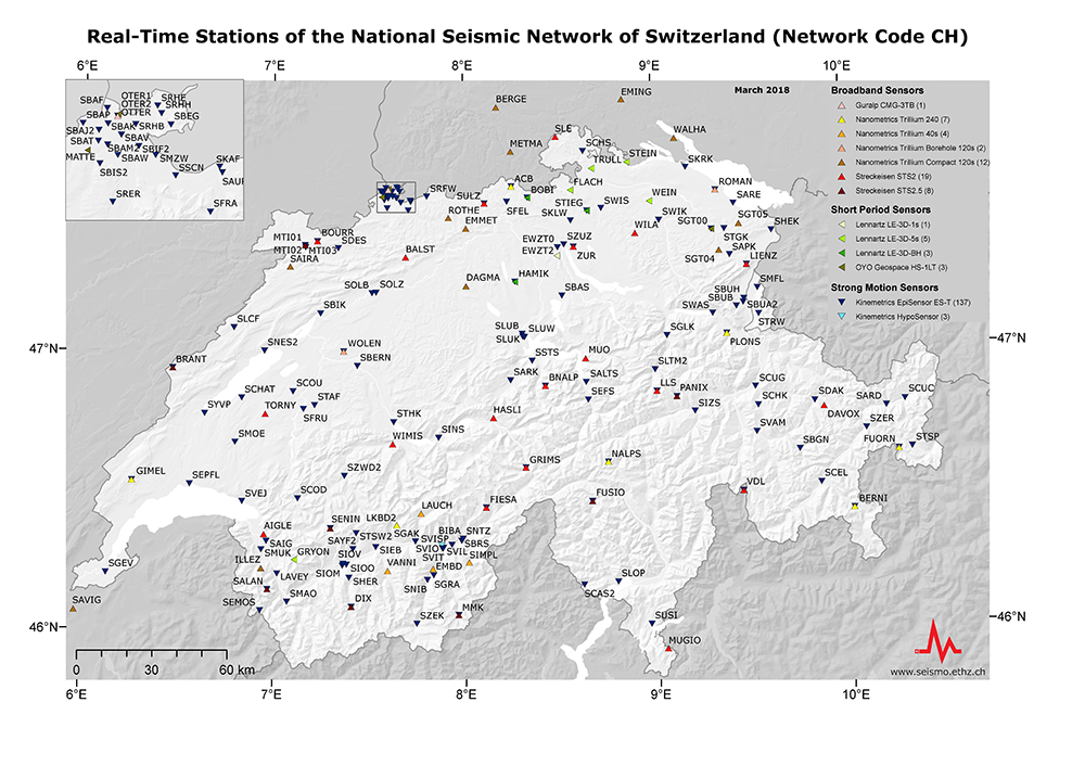 Real-time stations of the National Seismic Network of Switzerland