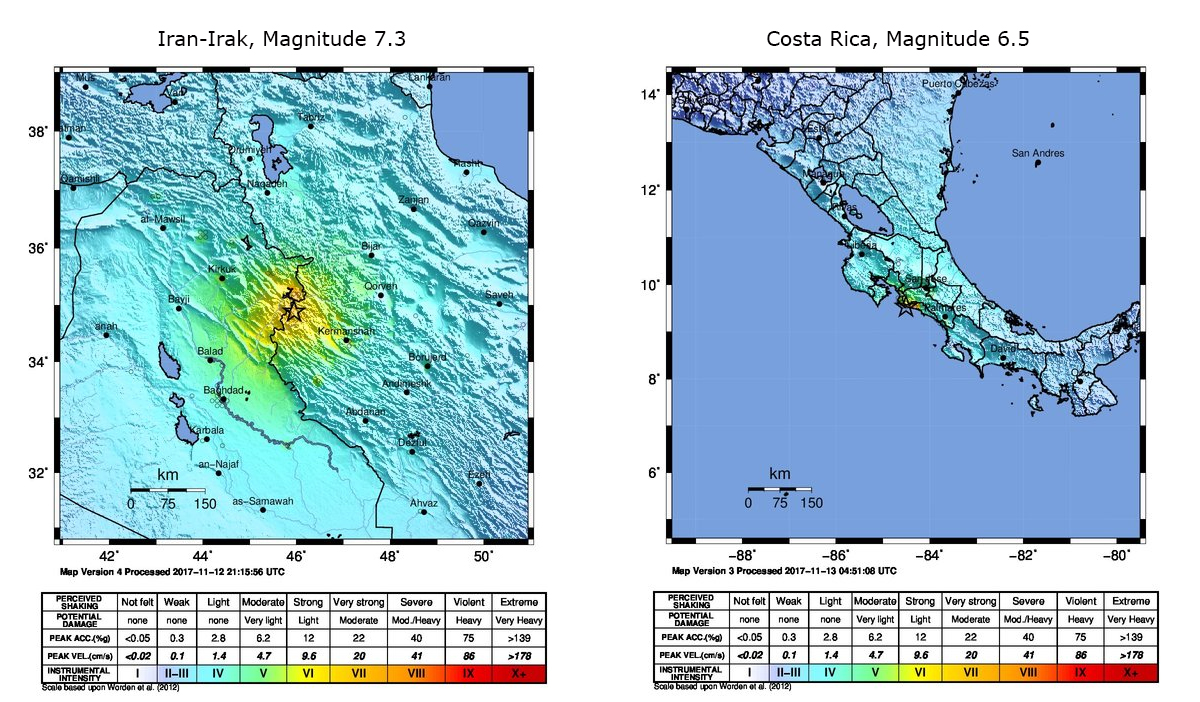 Severe earthquakes in the Iran-Iraq border region and in Costa Rica